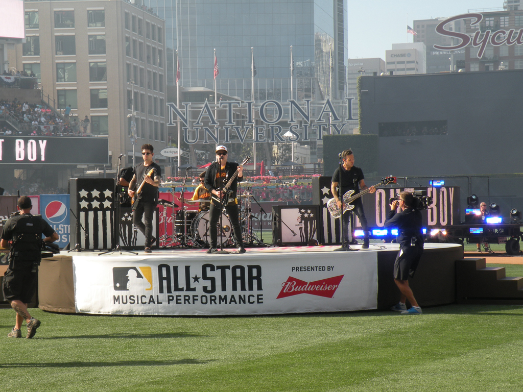 Fall Out Boy performs prior to MLB Home Run Derby at Petco Park in San Diego